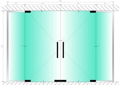 Стеклянные двери маятникого типа